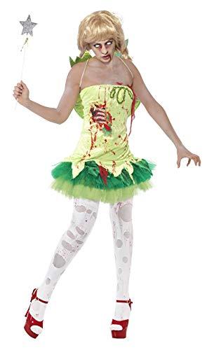 Smiffys, Damen Zombie-Fee Kostüm, Kleid mit Latex-Brustteil und Flügel, Größe: M, 40060