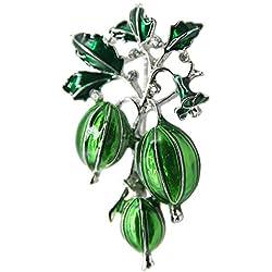 ZhiGe Broche,Broche de Mujer Broches para Ropa Mujer Broche de Rama de Hoja Verde Oliva de piñones Accesorios Diamante Planta de aleación Broche
