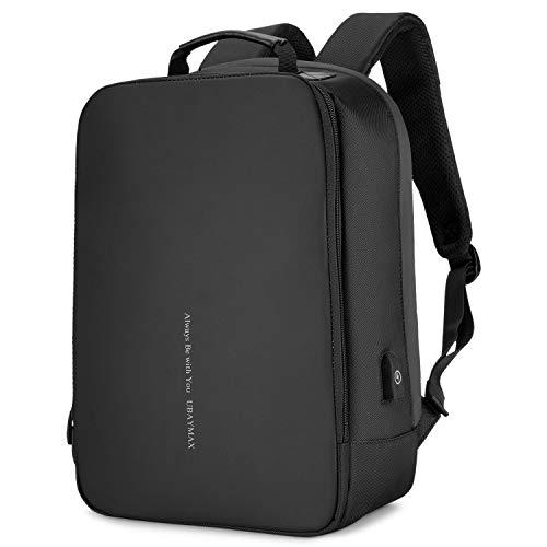 """Diebstahlsicherer Laptop-Rucksack 15,6 """"mit USB / wasserdichtem Herrenrucksack für Notebook / Freizeitrucksack für Tablet / Laptop-Rucksack / Schulrucksack für tägliche Geschäftsreisen (02-Schwarz)"""