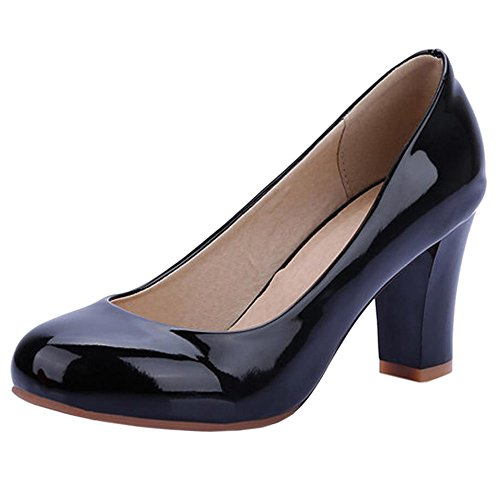 COOLCEPT Women Mode Synthetik Patent Geschlossene Blockabsatz Pumps Schwarz