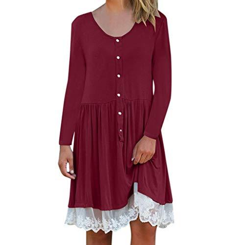 Canifon Damen Winter Spitze Panel Kleid Damen Patchwork Rundhals Lange Ärmel Einfarbig Lose Kleider (Mädchen Rot Pailletten Kostüm Heels)