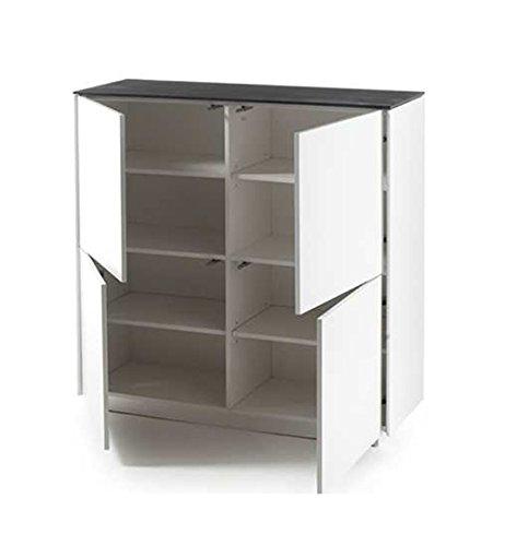 Highboard in matt weiß mit Deckplatte aus Glas in Steinoptik grau, 4 Türen und 6 Einlegeböden, Maße: B/H/T ca. 105/109/40 cm - 2