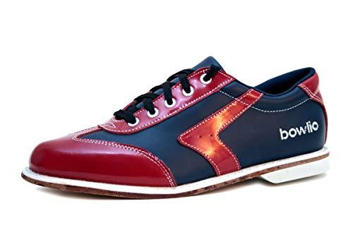 Bowlio Bowlingschuhe Verona - aus Leder mit Ledersohle, Größe:48, Farbe:Rot/Schwarz