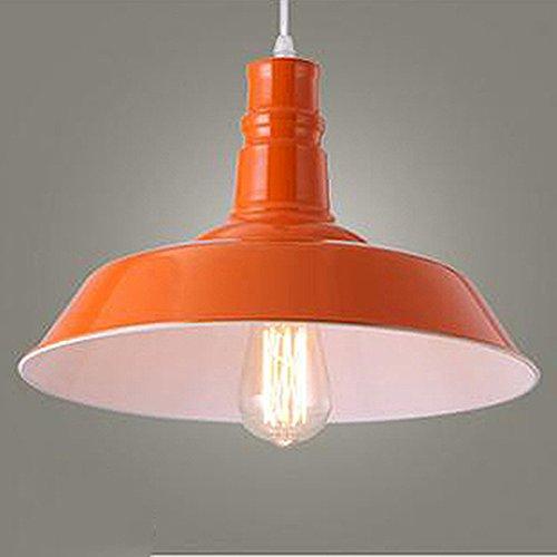 BAYCHEER Lampe Suspensions Lustre Abat-jour en Métal Style Bol Rétro Industriel Eclairage Decoratif-Orange