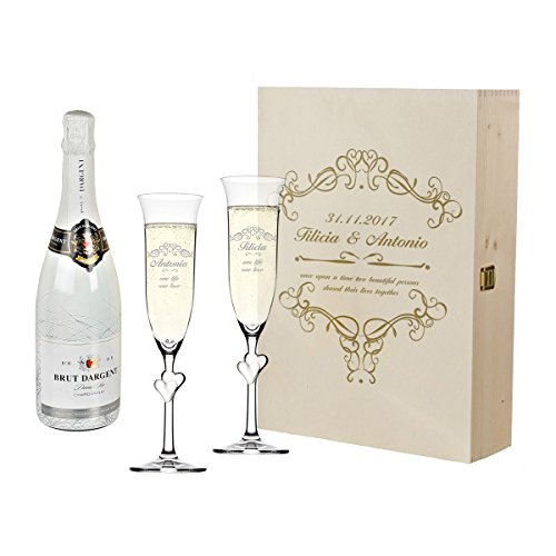 polar-effekt 2 Weisse Sektgläser mit Sekt-Flasche im Geschenkbox - Sektglas-Set Personalisiert mit Gravur - Hochzeit Geschenkidee - Motiv Ornamente (Ornamente Personalisierte Hochzeit)