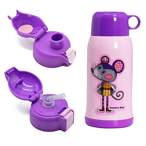 IGZOM Vakuum Isolierte Edelstahl Kinder Trinkflasche,BPA-Frei Auslaufsicher Thermosflasche geeignet für die Schule,im Freien,600ml,Lila