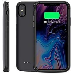 Happon Coque Batterie iPhone XS Max, 6000mAh Chargeur Portable Batterie Puissante Externe Rechargeable Power Bank Coque pour iPhone XS Max