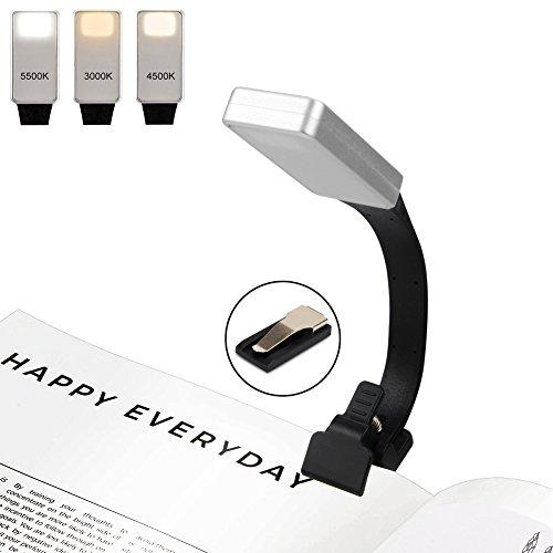 Leselampe, Leselicht, YIKANWEN Wiederaufladbar LED Buchlampe mit Zwei Clip und 4-Stufe Helligkeit Tragbare und Flexibel ,Arbeitsplatzleuchten für Amazon Kindle/ eBook Reader/ Book/ ipad/ Notenständer. Schwarz