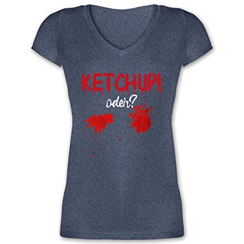 Küche - Ketchup! oder? - XS - Dunkelblau meliert - XO1525 - Damen T-Shirt mit V-Ausschnitt (Frauen Tron Kostüm)