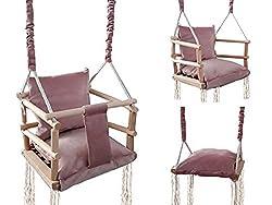ISO TRADE Babyschaukel Kinderschaukel Holz Stoff Babysitz Baby Schaukel zum Aufhängen 3 in 1 Rosa Grau 8336 , Farbe:Rosa