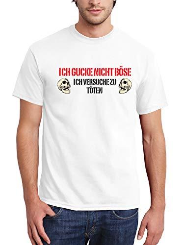 (clothinx Ich Gucke Nicht Böse Ich Versuche Zu Töten Herren T-Shirt Weiß Gr. S)