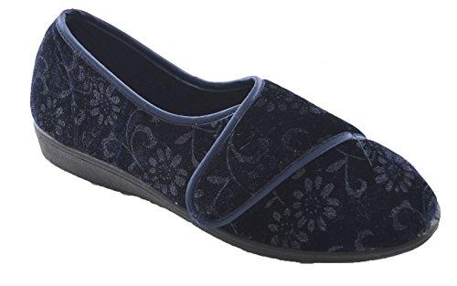 Slumberzzz Hausschuhe für Damen einfach zu Öffnen, Schließen mit & Velours Hausschuhe Blau