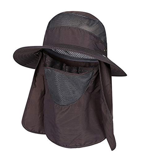 kolila Unisex Summer Sonnenhüte Verkauf Volle UV-Schutz Windproof Fishing Mützen Verstellbare Hals Gesicht Klappe Hut Breiter Krempe Hüte Caps (Cross Verstellbare Leder Halskette)