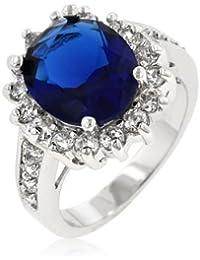 Eleganter Verlobungs Ring 'Prinzessin Diana' mit CZ Saphir und Zirkonia Diamanten, Gr. 50 (15.9), 14 Karat Weißgold Vermeil (R07730R-C30-5)