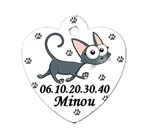 Médaille coeur chat cartoon personnalisée avec nom et numéro de tel