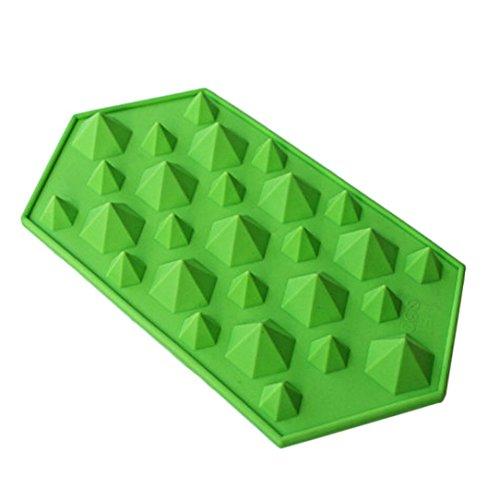 (Winkey Diamant Form Ice Cube Tablett 27Mulden Kristall Silikon Ice Form Candy Size:approx 23(L)*12(W)*2.5(H)cm grün)