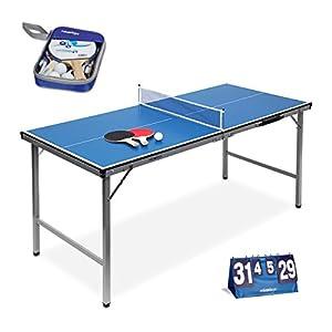3 teiliges Tischtennis Set XXL, Schlägerausrüstung 2 Sterne mit 2 Tischtenniskellen, 3 Bällen und Netz, Klappbare Tischtennisplatte für Ping-Pong, Zählgerät