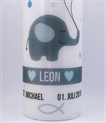 Taufkerze Elefanten Herz Junge Mädchen inkl. gratis Beschriftung mit Name und Datum - 3