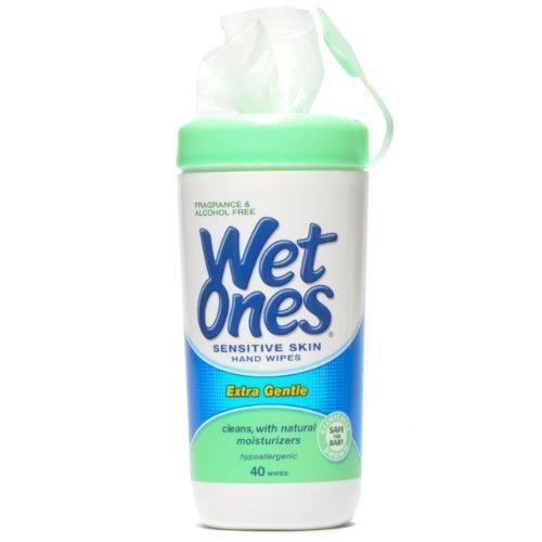 Wet Ones Sensitive Skin Hand Wipes, Extra Gentle 40 Count Canister - 1 Pack by Playtex
