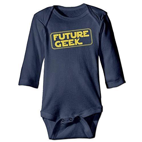 MSGDF Unisex Newborn Bodysuits Future Geek Girls Babysuit Long Sleeve Jumpsuit Sunsuit Outfit Navy (Geek-outfit Für Halloween)