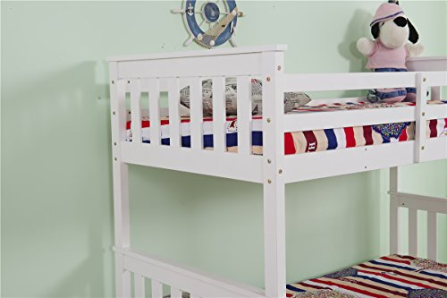 Yakoe Solid Pine Triple Sleeper Bunk Bed, Wood, White, Double