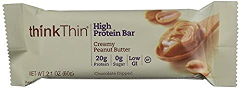 thinkThin Creamy Peanut Butter Protein Bars 60g,10 Count Box, by thinkThin