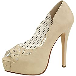 Zehenfreie Pumps Pin Up Couture braun BELLA-30 Beige, EU 39