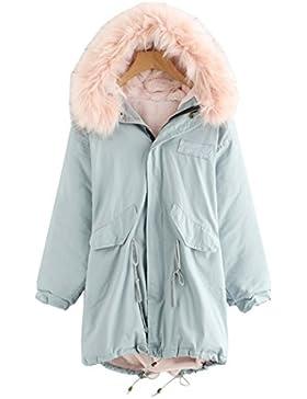 ROMWE Damen Winter Jacke Mantel mit Fell Kapuze Tasche Kuschelig Winddicht Oversize Übergroß Parka