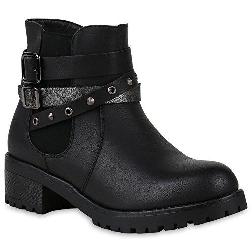 Stiefelparadies Damen Stiefeletten Biker Boots Nieten Leicht Gefütterte Schuhe 146550 Schwarz Schnalle 36 Flandell