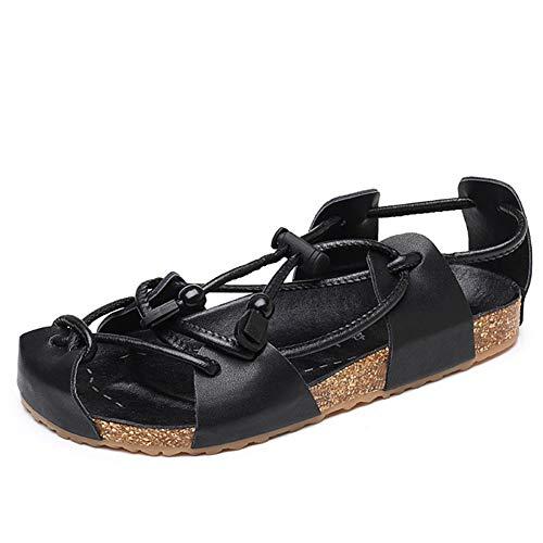 Männer Leder Gladiator Sandalen geschlossen zehen schnürung Flache Kork Strandschuhe Sommer Anti Slid tragen widerstandsfähige Schuhe für familienbad entspannend (Chaco Flip Flops Männer)