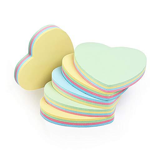 6 Blöcke selbstklebende Notizzettel, einfach zu posten, niedlich, lustige Herz-Haftnotizen - 100 Blatt/Block