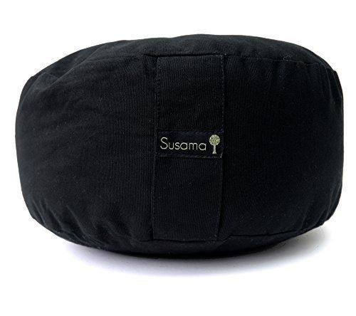 Reinigen Hanf-teppich (Zafu - Yoga und Meditations Kissen von Susama – Hochwertige Baumwolle, sehr bequem und europäisches Rondo Design – Verbessern Sie Ausrichtung und Komfort der Wirbelsäule! #1 für Yoga & Meditation)