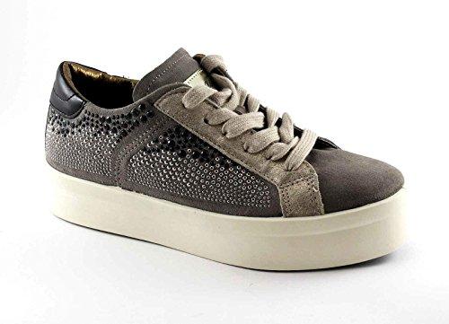 CAFè NOIR EP603 fango beige scarpe donna sneakers camoscio strass platform Beige