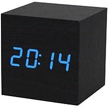 WINWINTOM Digital LED Negro de madera Control de voz Reloj despertador (Azul)