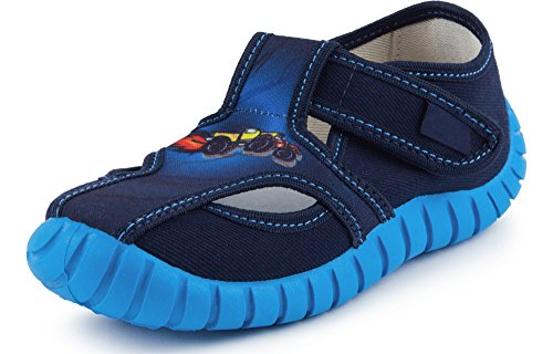 Ladeheid pantofole a strappo bambino lavi0003 (blu/auto, 24)