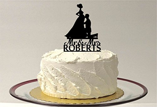 Tortenaufsatz Schwangere Silhouette personalisierten Schwangere Baby Dusche Topper Hochzeit Kuchen Topper MR Mrs Hochzeit Geschenk Rustikal Tortenaufsatz, für Das Paar ()