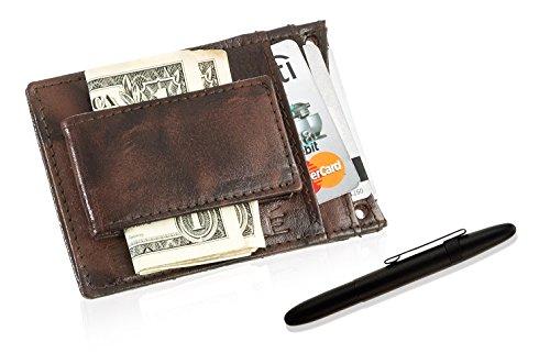 Herren Magnetische Geld Clip (Fisher Space Stift und Geldklammer in Geschenkbox, für Herren, Leder-Geldklammer, Magnetisch Brown Wallet/Black Clip Pen)