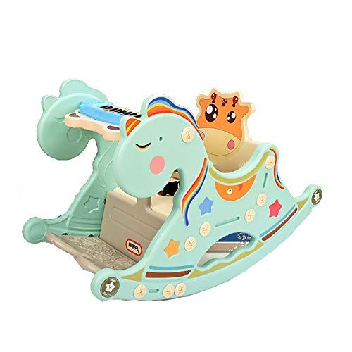 Rocking Horse Nattou Schaukeltiere,Baby-Schaukelpferd Doppelzweck-Plastikkinderschaukelstuhl - Verwendbar Für 1-3 Jahre Säuglingswippe,Blue