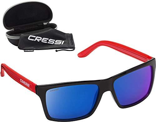 Cressi Rio Sunglasses Sport Sonnenbrille Linsen polarisiert und Antireflexion Sorgen für 100% igen Schutz vor UV-Strahlen, Rot Schwarz/Spiegel Blau, Einheitsgröße (Blau Polarisierten Sonnenbrillen)