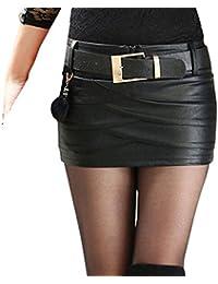 dfa5758d1 Juleya Women Skirt PU Leather Skirts Mini Short Skirt High Waist Pencil  Skirt Irregular Evening Skirt