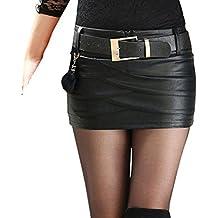 091cee7391 Hongxin Mujeres Mini Falda de Cuero de la PU de Fresca Cintura Alta  Cremallera Plisada Falda