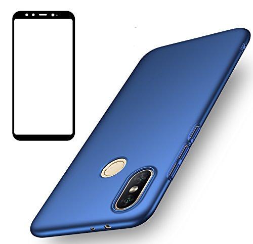 Funda Xiaomi Mi A2, UCMDA Carcasa Xiaomi Mi A2 con Protector de Pantalla, Fundas [Anti-Arañazo] Duro para Xiaomi Mi A2/ Xiaomi Mi 6X (Lanzado en 2018) - Azul