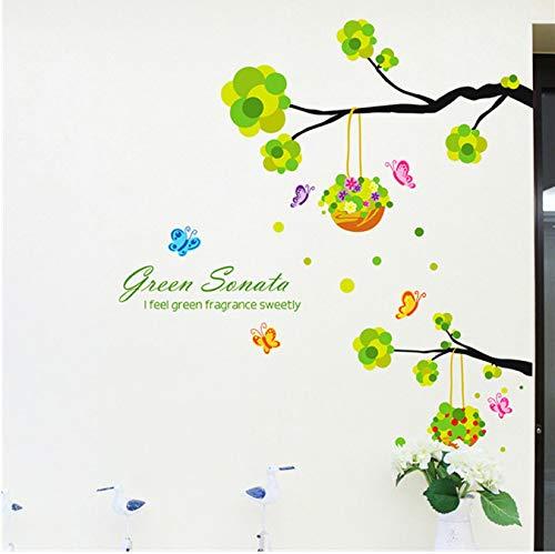 JXSTORE Wandaufkleber für Schlafzimmer Wohnzimmer Mädchen Junge Küche - Grüner Baum Verlässt Blumenkorb (Verlässt Zu Thanksgiving)