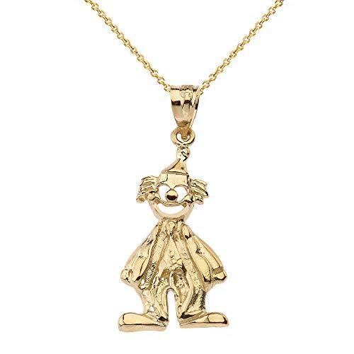 Solide 10 Karat Gelb Gold Auguste Clown Anhänger Halskette (Kommt mit Einer 45 cm Kette)