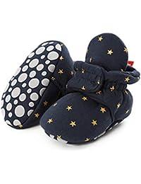 Unisex Newborn Winter Boots Warm Stripe Bootie Non-Slip Sole Soft Stay On Ajustable Bootie Sock
