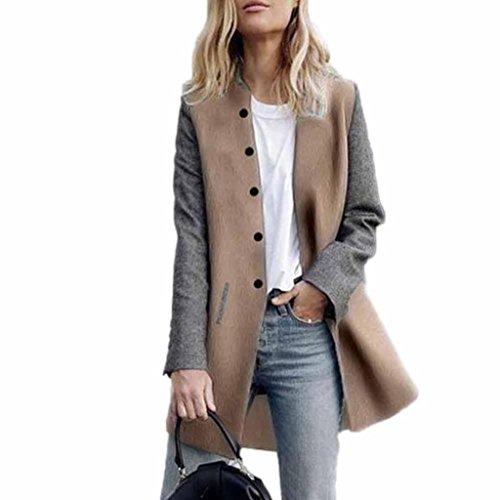 Longra Damen Trenchcoat Lang Mantel mit Tasche Damen Winterjacke Parka Cardigan Frauen Wasserfallkragen Wollmantel Übergangsjacke Outdoorjacke Lang Jacke (XL, Gray)