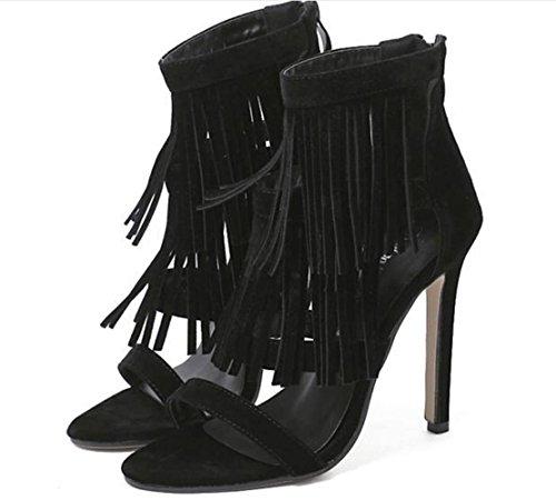 YCMDM Été Nouveautés Chaussures femme Chaussures à talons hauts Chaussures simples Black