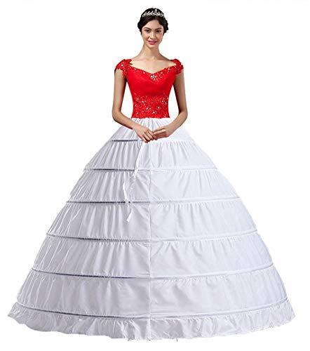 Damen Lang Reifrock Hochzeit 6 Hoop Unterrock Crinoline Petticoat Fuer Abendkleider Ballkleider Promkleider Hochzeitskleider Brautkleider Vintage...