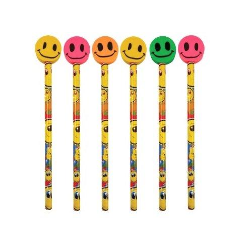 6x Smile Face Bleistifte mit Radiergummis Topper-Verschiedene Farben