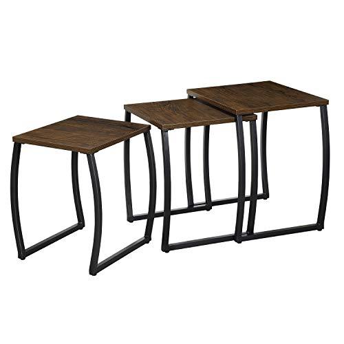 Roolee - Juego de 3 mesas auxiliares, mesa de café, mesas pequeñas ...